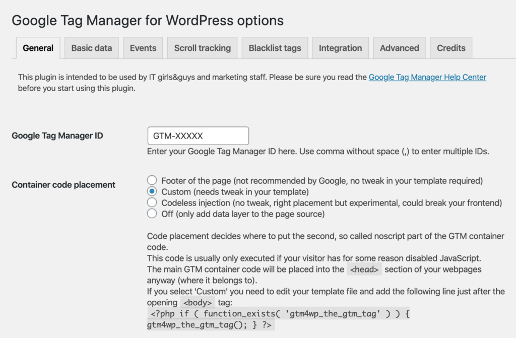 google tag manager via wordpress plugin